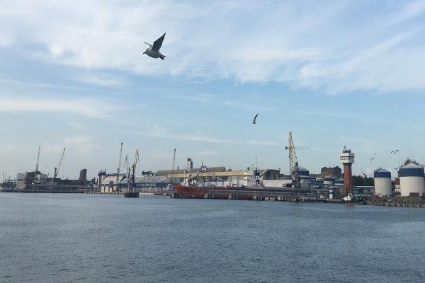 A view of a shipyard.